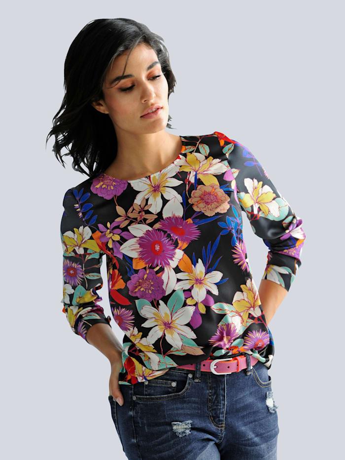 Alba Moda Bluse mit Blumendessin, Schwarz/Multicolor