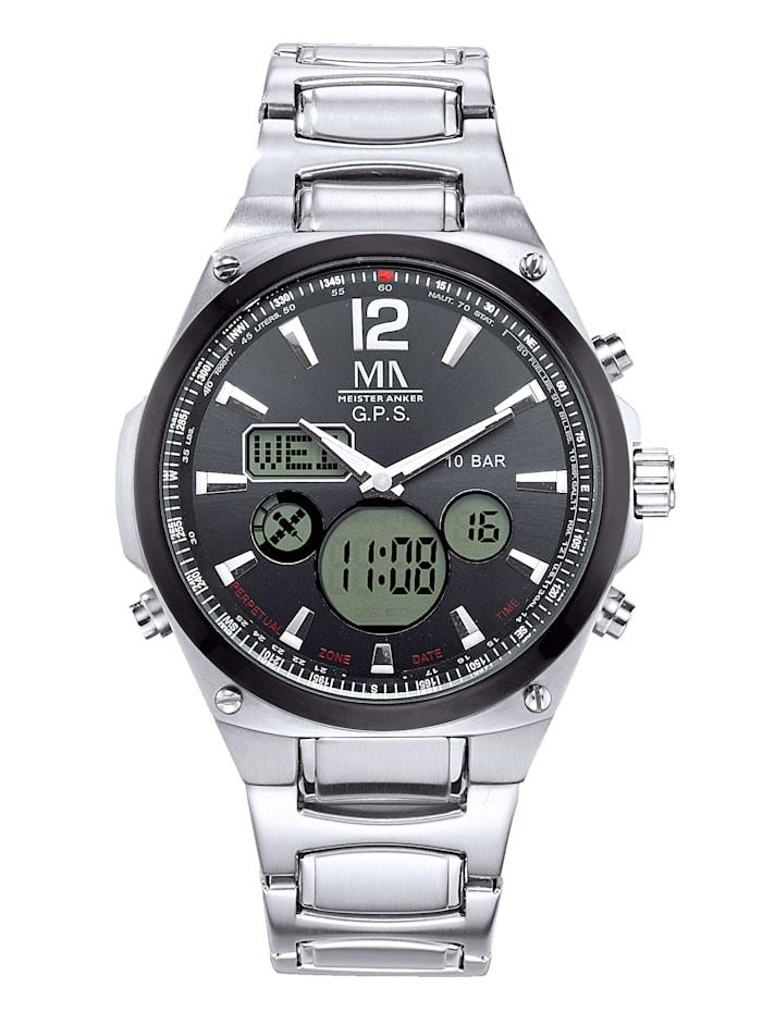 Meister Anker Rádiom riadené GPS hodinky, Strieborná
