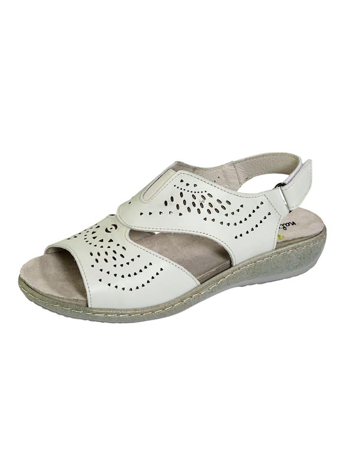 Naturläufer Sandale mit sommerlicher Lochung, Weiß