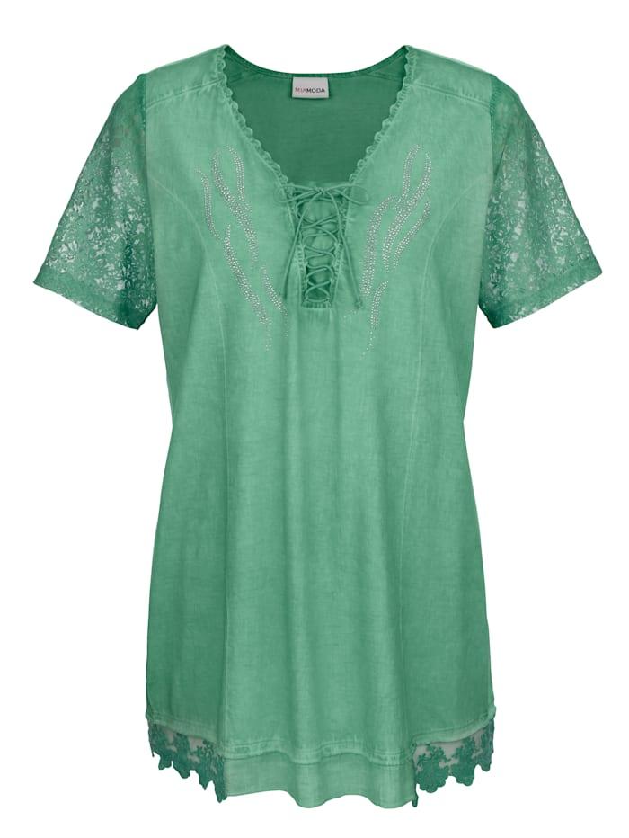MIAMODA Longshirt mit Schnürung und Dekosteinen im Ausschnitt, Grün
