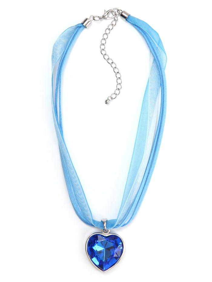 Allgäu Rebell Trachtenkette Gitti mit Herzanhänger, blau