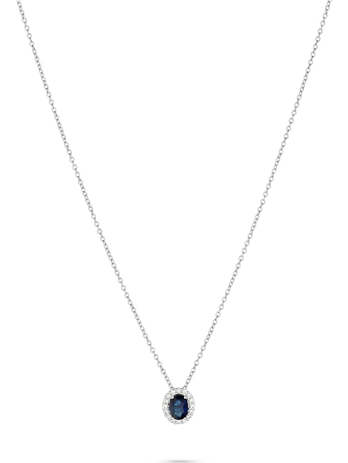 CHRIST C-Collection CHRIST Damen-Kette 585er Weißgold 16 Diamant, blau