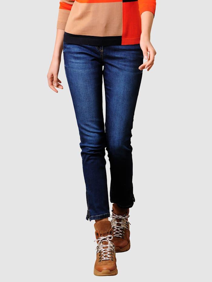 Alba Moda Jeans med strass på baklommene, Dark blue