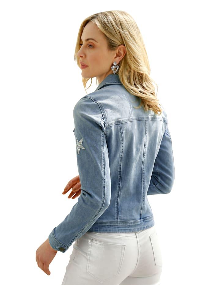 Jeansjacke mit Glitzer-Sternen vorne