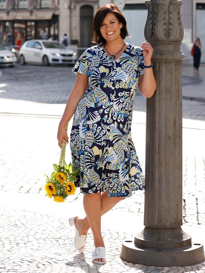 m. collection Kleid vorne mit dekorativer Knopfleiste, Marineblau/Gelb/Weiß
