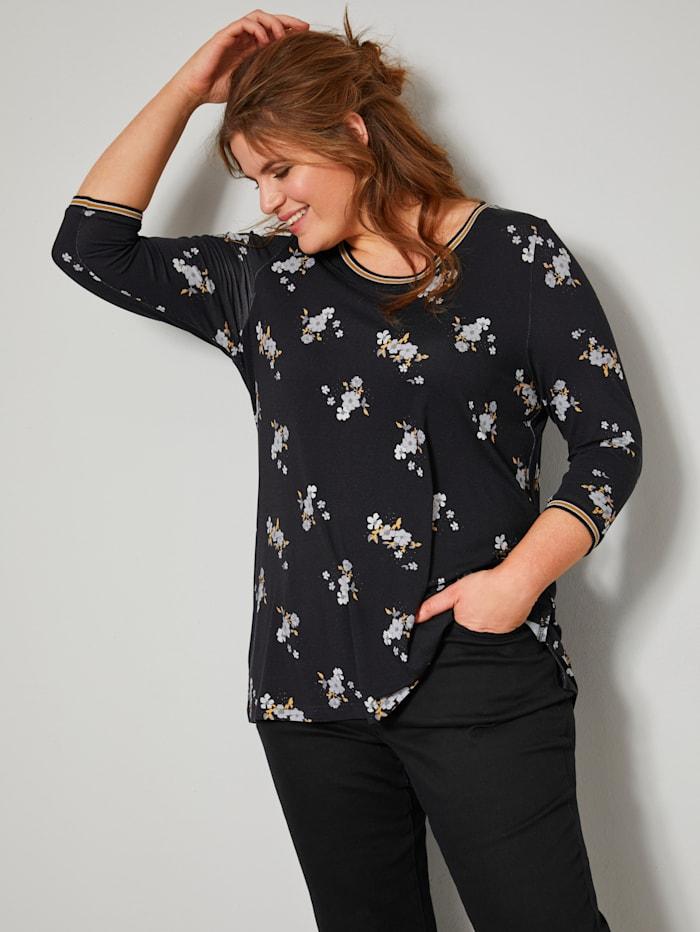 Janet & Joyce Shirt met bloemenprint, Zwart/Okergeel