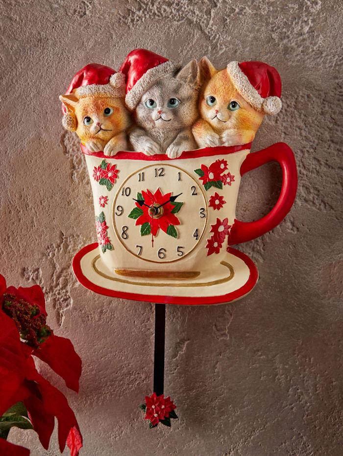 Horloge murale 'Chats de Noël'