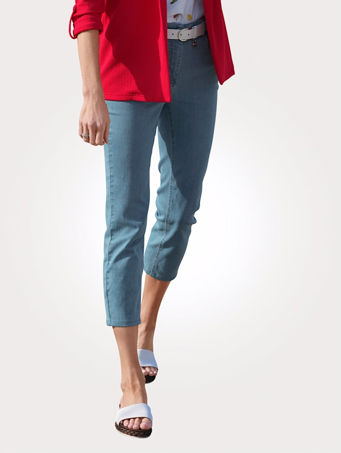 MONA Jeans with tonal stitched detailing, Light Blue