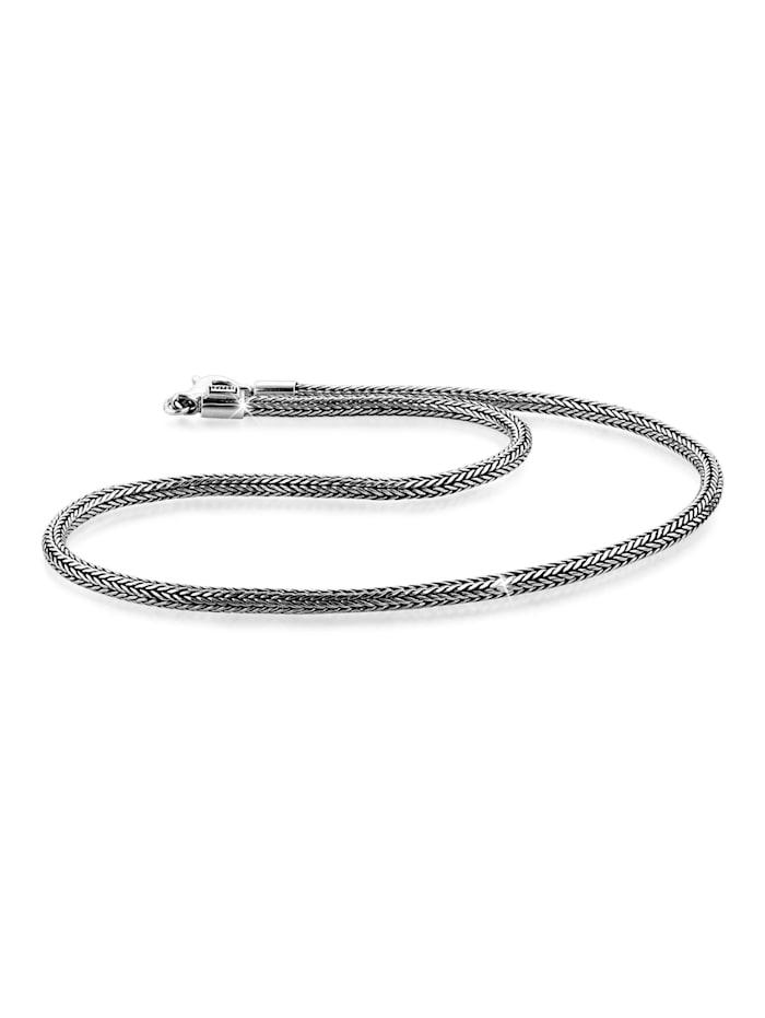 Kuzzoi Halskette Herren Basic Schlangenkette Oxidiert 925 Silber, Silber