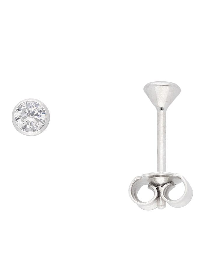 1001 Diamonds Damen Silberschmuck 925 Silber Ohrringe / Ohrstecker mit Zirkonia Ø 3,5 mm, silber
