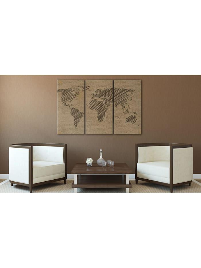 Wandbild Notizen aus der Welt - Triptychon