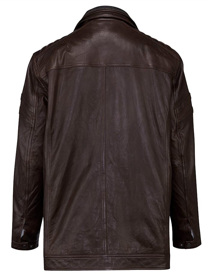 Kožená bunda s príložkou a odopínateľným ležatým golierom