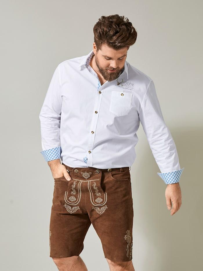 Men Plus Overhemd, Wit/Lichtblauw