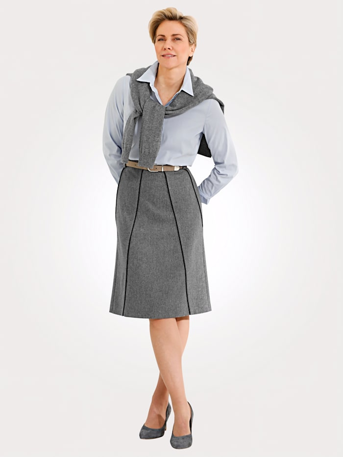 MONA Skirt with contrast piping, Silver-Coloured/Grey