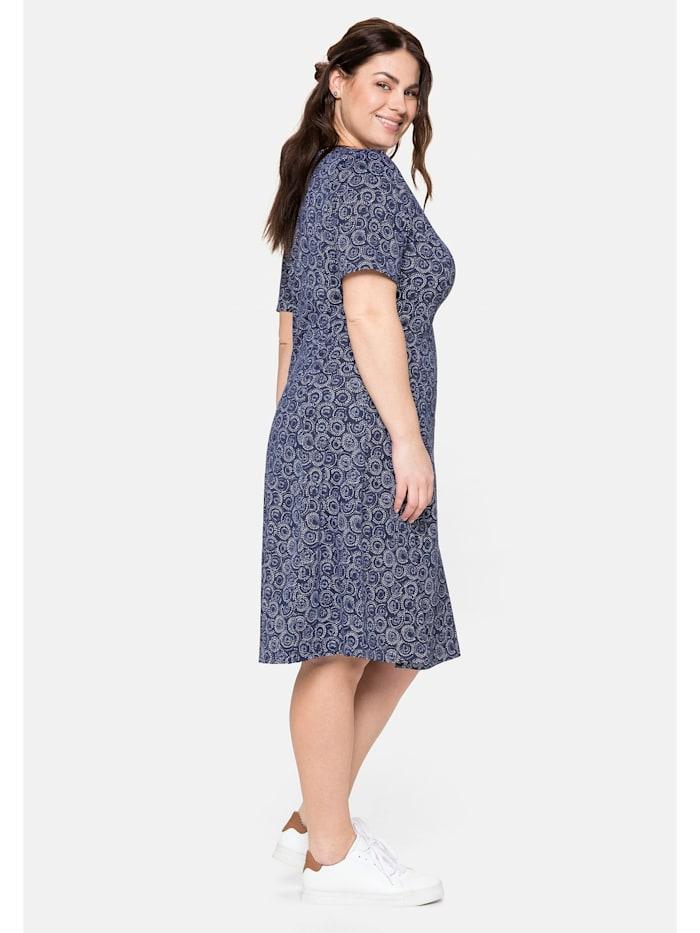 Jerseykleid mit Alloverdruck und V-Ausschnitt