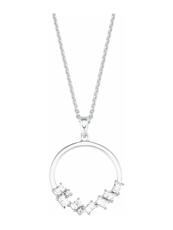 amor Kette mit Anhänger für Damen, Sterling Silber 925, Zirkonia Kreis, Silber