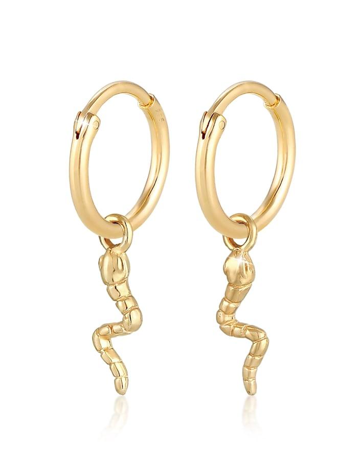 Elli Ohrringe Creolen Hänger Einhänger Schlange 925Er Silber, Gold