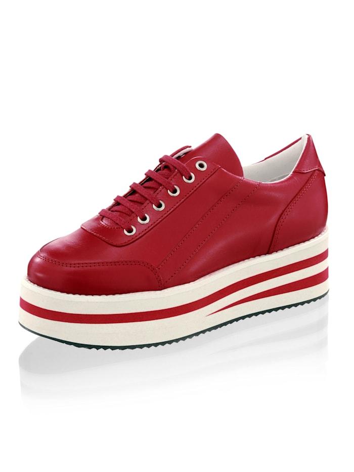 Alba Moda Sneakers med randig, hög sula, Röd