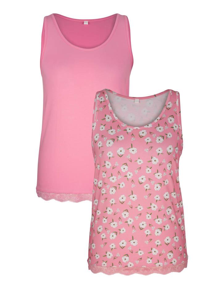 Harmony Hemdjes met kant aan de zoom, Roze/Wit