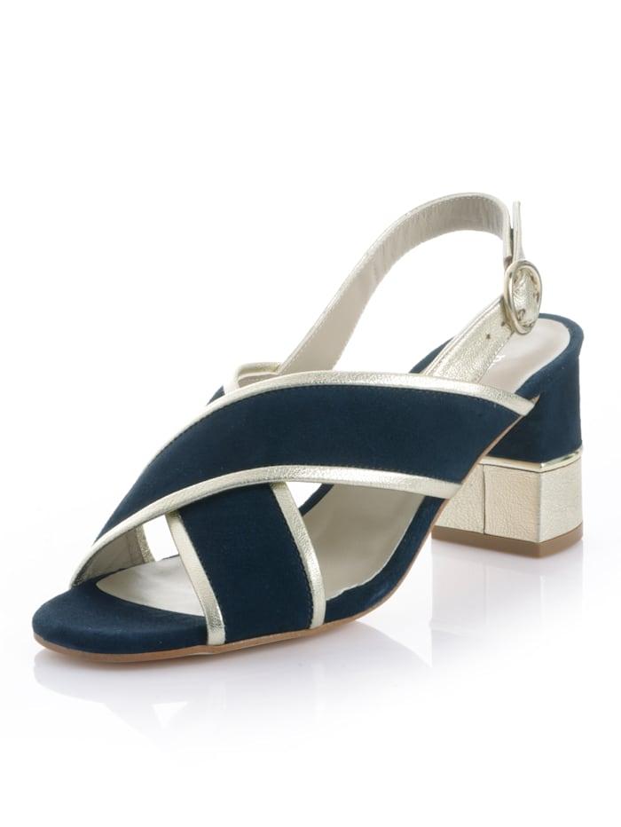Alba Moda Sandalette aus Ziegenveloursleder, Marineblau/Goldfarben