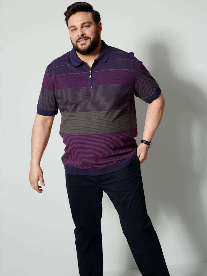 Men Plus Poloshirt in speciale pasvorm, Marine/Paars