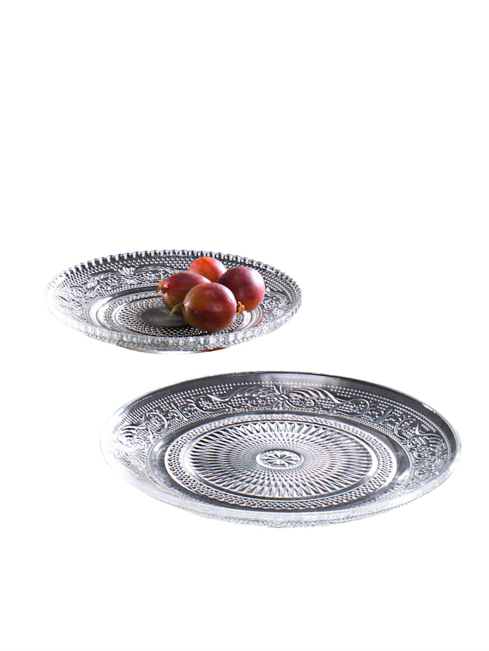 Set van 2 borden Reliëf, Doorzichtig