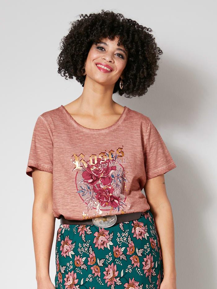 Angel of Style Tričko s kvetinovým motívom, Staroružová