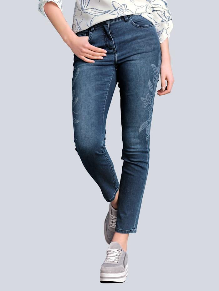 Alba Moda Jeans mit modischem Laserprint, Blau