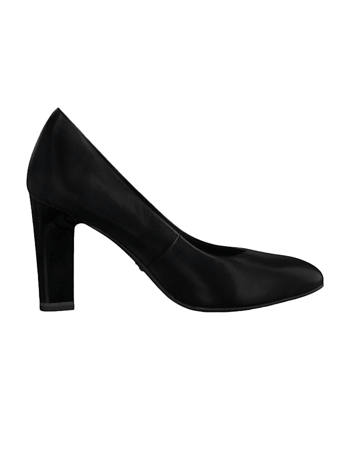 1-22417-24 001 Damen Black Schwarz High-Heel Leder Pumps