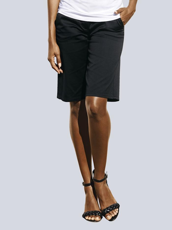 Alba Moda Bermuda-Shorts aus leicht glänzender Satin-Ware, Schwarz