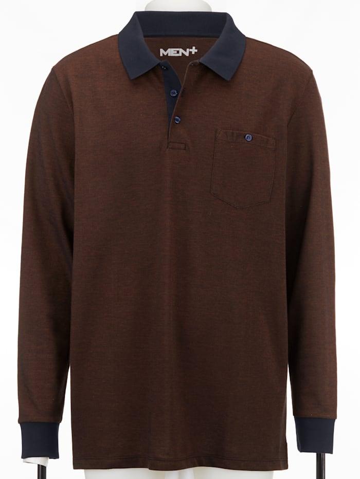 Men Plus Poloshirt, Marine/Cognac