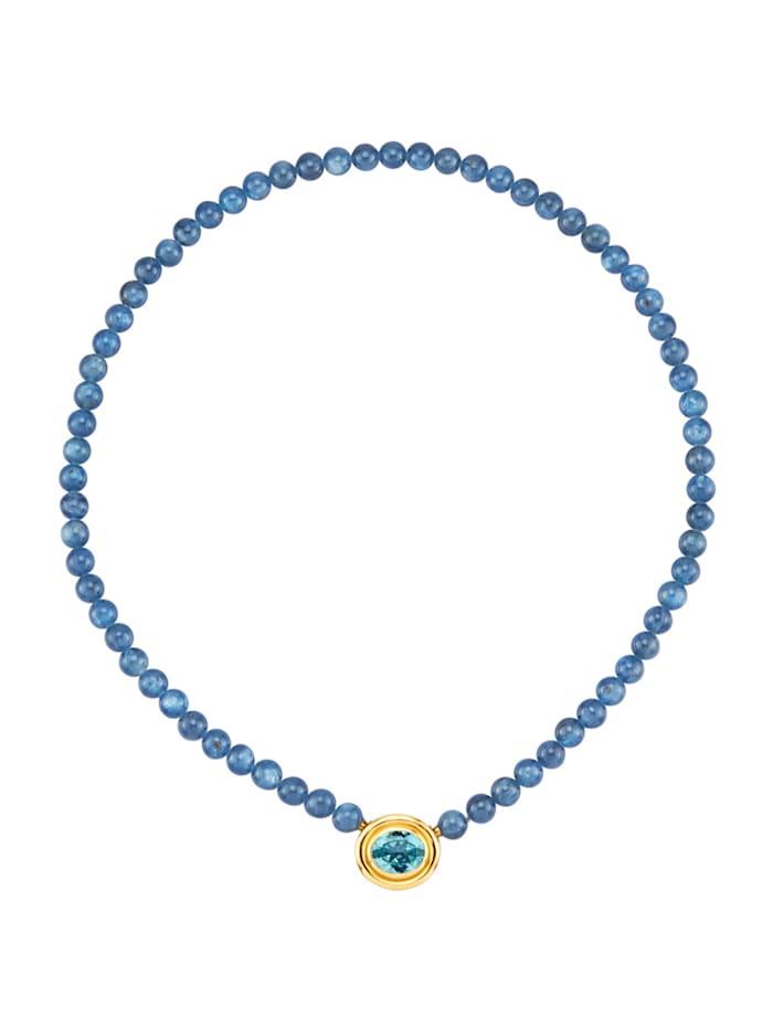 Amara Farbstein Kyanit-Kette mit Edeltopas, Blau