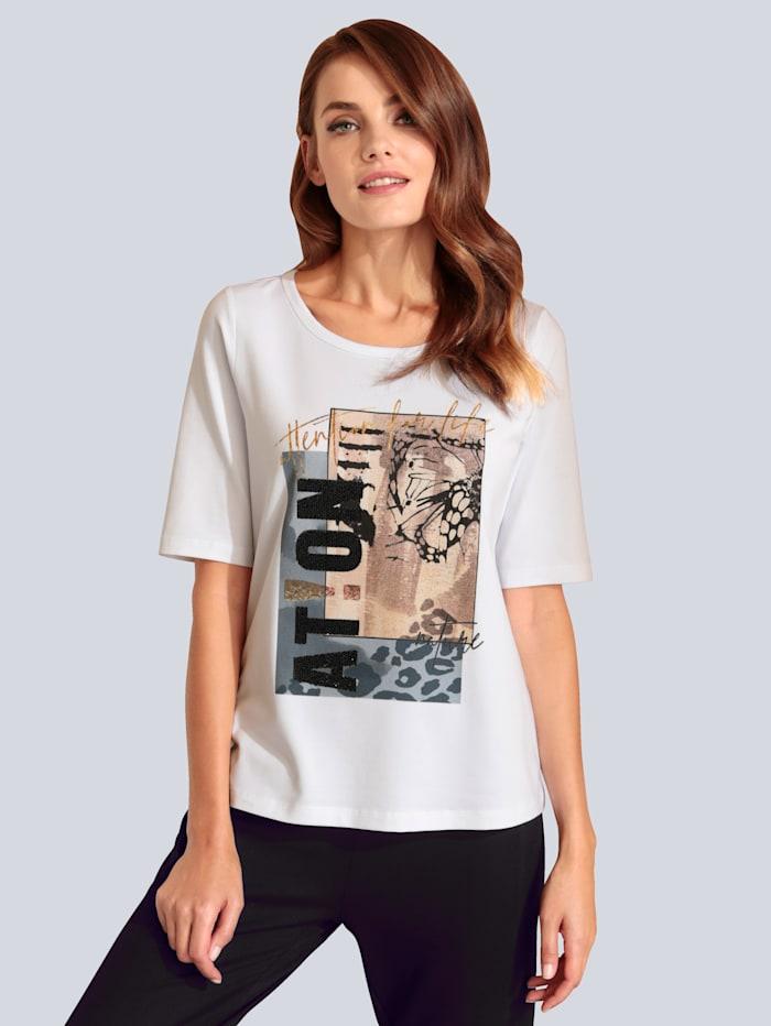 MARGITTES T-Shirt mit Steinen verziert, Weiß