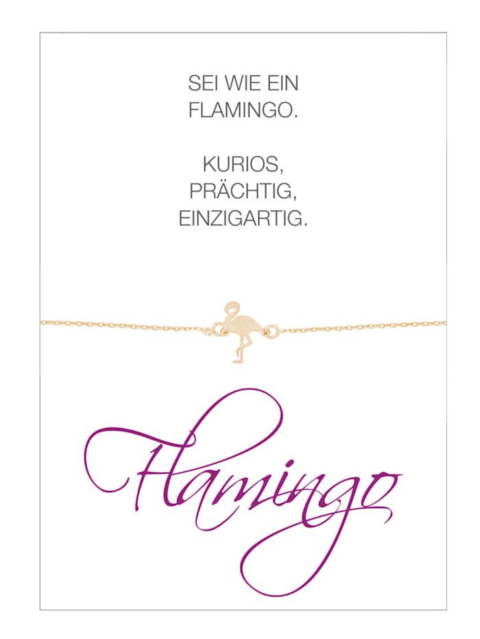 Herzkarte Flamingo-Armband, Rosé