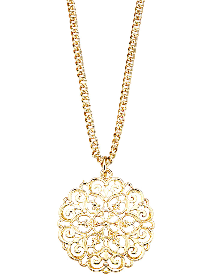 Chain with pendant, Yellow gold coloured