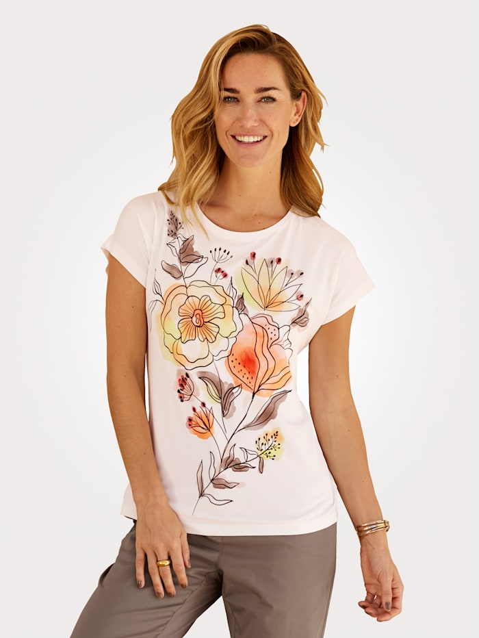 MONA Shirt mit Druck in Aquareloptik, Ecru/Gelb/Hellrot