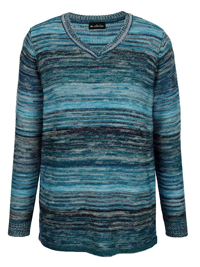 Pullover mit gestreiftem, buntem Muster rundum