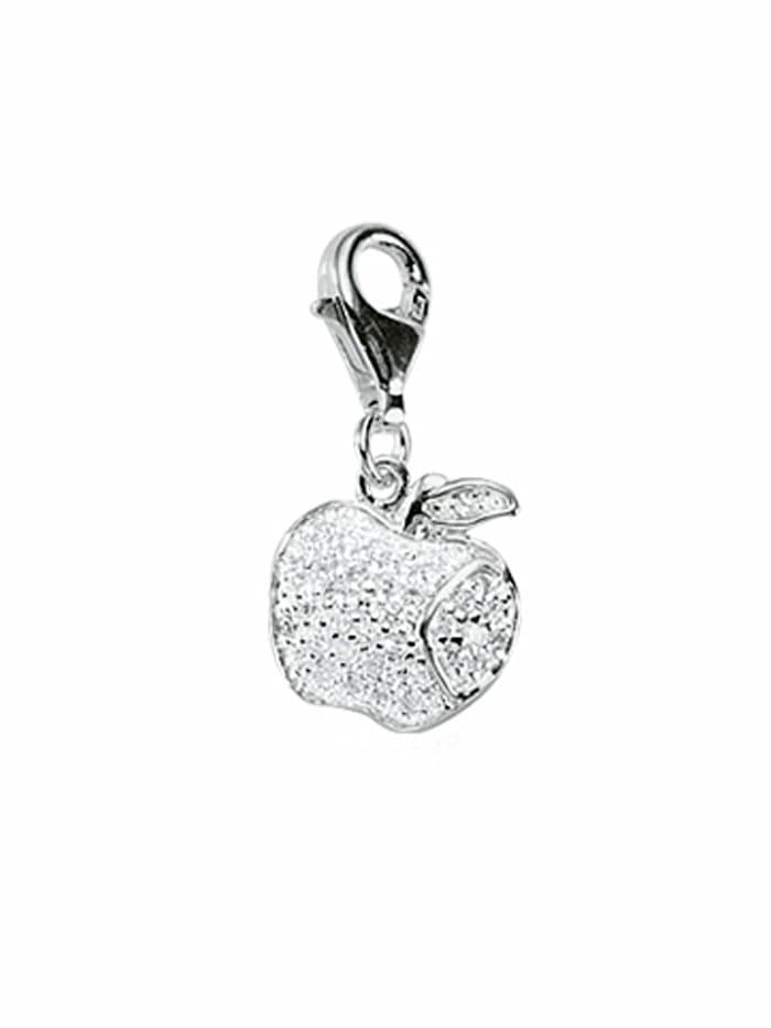 1001 Diamonds 1001 Diamonds Damen Silberschmuck 925 Silber Charms Anhänger Apfel mit Zirkonia, silber