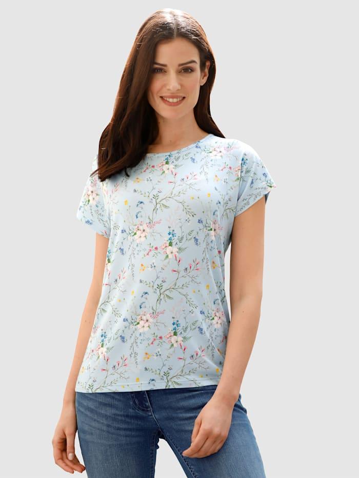 Dress In Shirt mit Blumendruck, Türkis