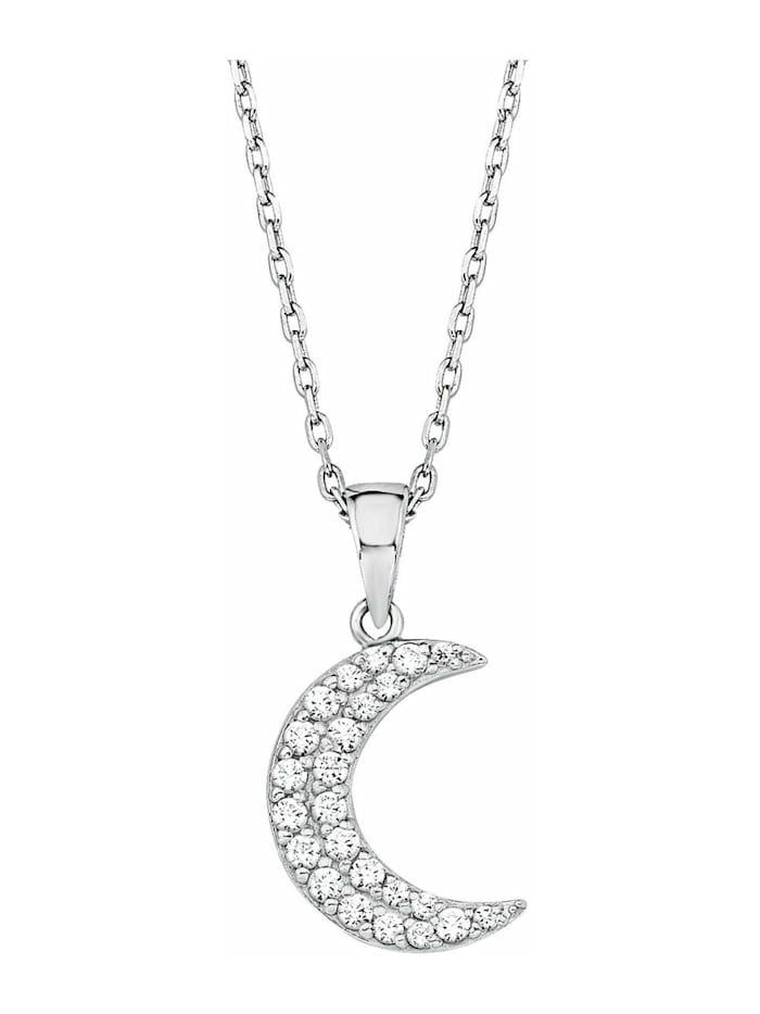 amor Kette mit Anhänger für Damen 42+3 cm mit Anhänger Mond Halbmond 925 Silber rhodiniert Zirkonia weiß, Silber