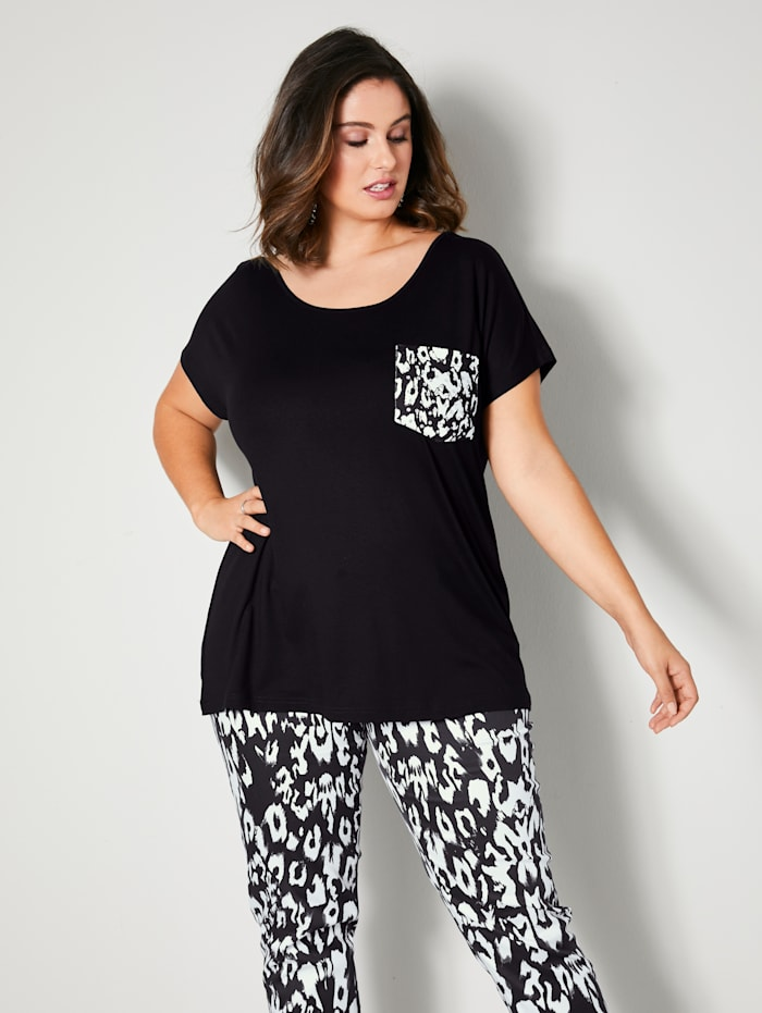 Sara Lindholm T-shirt à poche poitrine, Noir/Blanc cassé