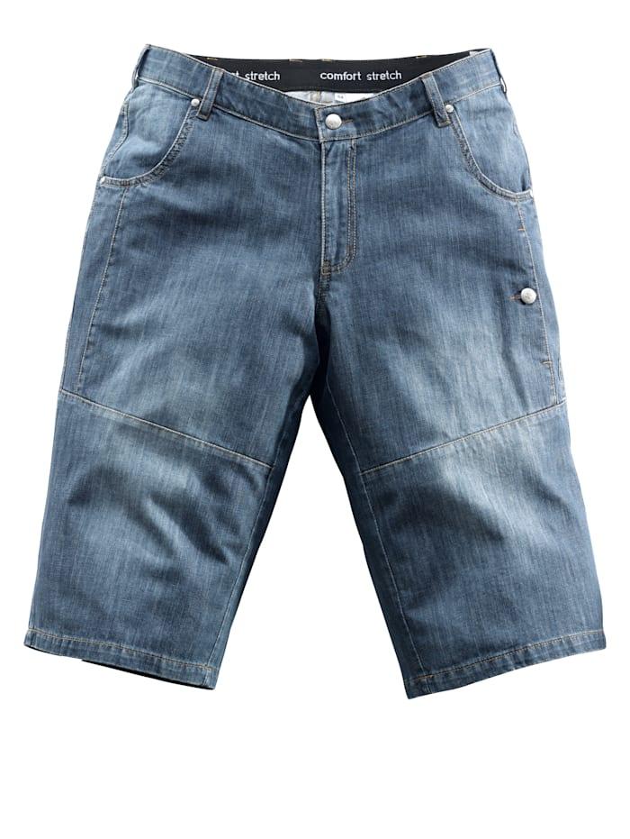 Men Plus Långa jeansshorts med resår och extra plats för magen, Black stone