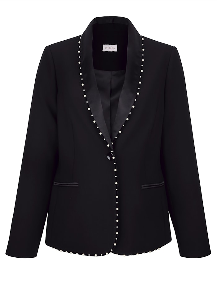 Blazer with satin and faux pearl detailing