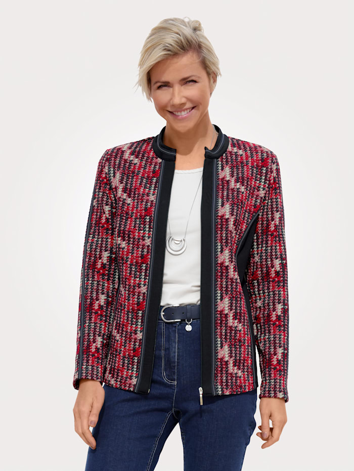 MONA Shirtjacke mit Struktur im grafischem Dessin, Rot/Weiß/Marineblau