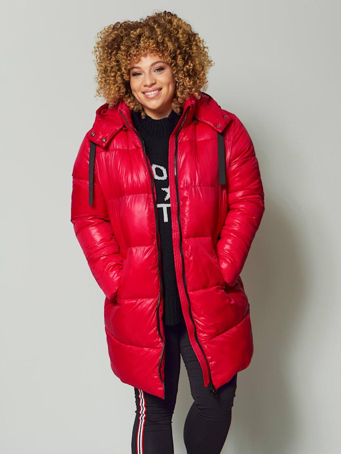 Angel of Style Gewatteerde jas met glans, Rood