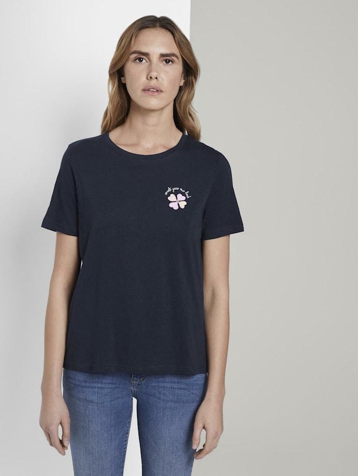Tom Tailor T-Shirt mit Print, Sky Captain Blue