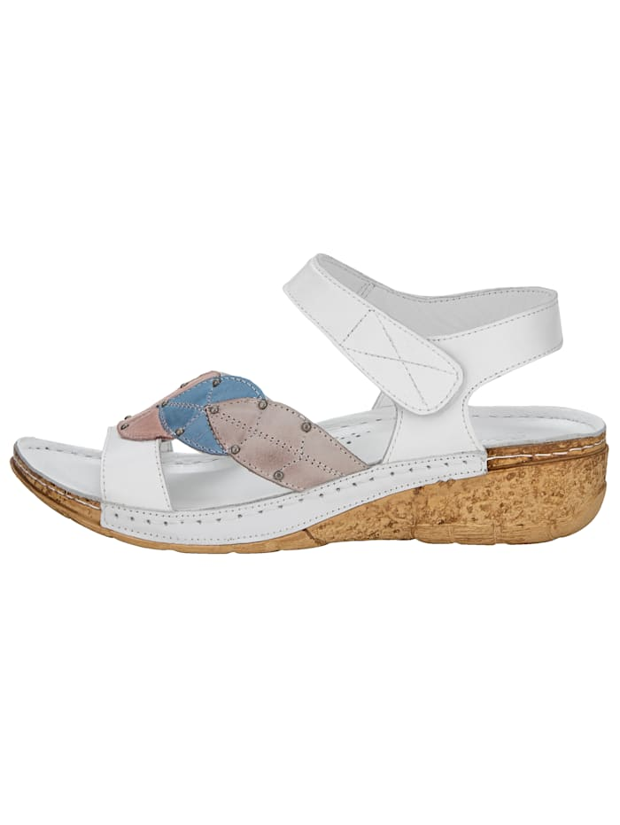 Wedge sandals with leaf appliqué