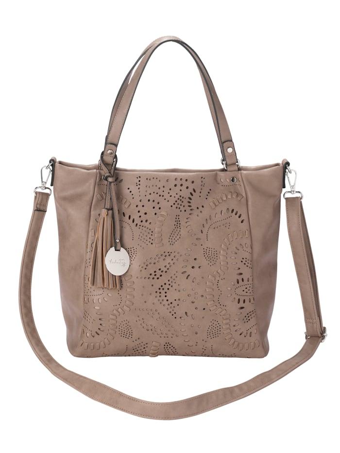 Taschenherz Handbag with floral cutout detailing, Taupe