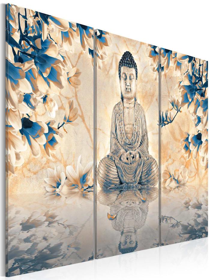 artgeist Wandbild Buddhistisches Ritual, Blau,Beige,Grau