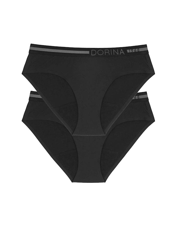 Dorina Period-Panty Hipster, 2er-Pack Ökotex zertifiziert, Black/Black